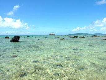 浜島の浜島の西の海:大潮「嘉弥真島側は岩が点々としてある」