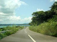 古宇利島の古宇利島の道路