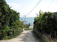 古宇利島の港近くの古宇利集落の坂道