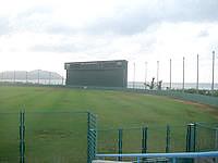 久米島の久米島野球場/ホタルドーム - スコアボードも豪華