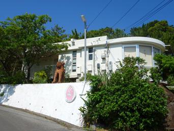 久米島の久米島焼 ナカムラ陶芸/中村康石陶房/カフェ/ギャラリー「カフェには大きな窓が設けられている」