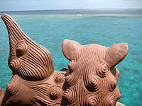 来間島のたそがれシーサー - 南向きのシーサー
