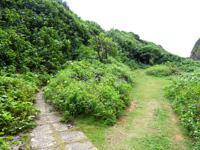 来間島のタコ公園 - 左の坂上がタコオブジェで右が岩場の海