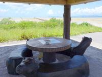 黒島の伊古桟橋/休憩所/牛ベンチの写真