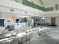 南大東島の南大東空港/売店/観光プラザ - ターミナルのロビーは2層吹き抜け