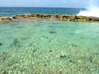 南大東島の塩屋プール/展望台 - 波が結構入ってきます