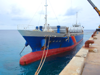 南大東島の亀池港/可倒式風力発電 - 海に向かって右は漁船用?
