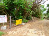 南大東島の本場海岸 - 島の内陸からはこの坂を一気に下ります