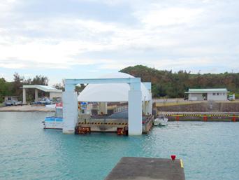 宮古島の島尻港/大神海運「ドーム型の浮き桟橋が特徴」