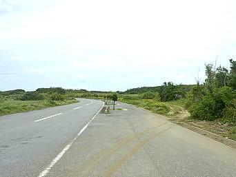 宮古島のティダガー入口までの道「保良泉と東平安名崎を結ぶ道の途中から入ります」
