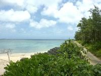 宮古島の真謝海岸 - 真謝港の緑地帯のすぐ横がビーチ