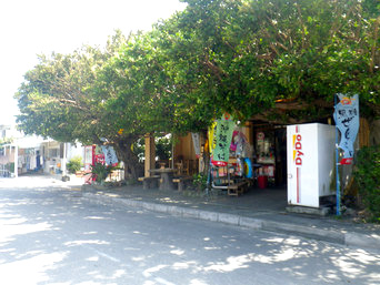 奥武島の軽食と雑貨の店 まいむ「緑豊かな建物が特徴的」