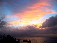 竹富島の西桟橋 - 夕焼け中