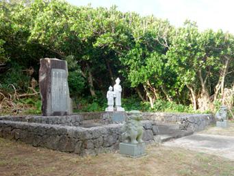 多良間島の多良間シュンカニの歌碑/ウェーンマの別離の像/母子像「イビの拝所のすぐ隣にあります」