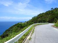 渡嘉敷島の久比里原林道からの景色 - 高台なので眼下の海がキレイ