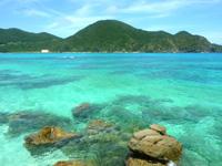 渡嘉敷島ハナレ島のハナレ島の海の色 - 透明度が高いので海の中まで見える