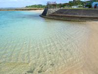 徳之島のヨナマビーチ/与名間浜 - 公園前は護岸整備されたビーチ