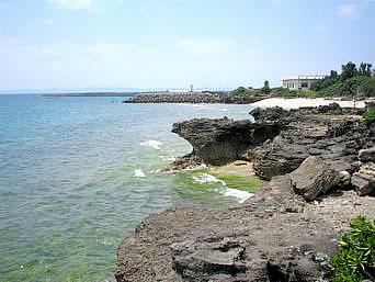 津堅島の津堅島南端の海「津堅島の南の畑をそのまま進むと海へ出れます」