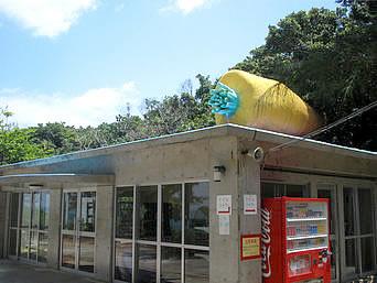 津堅島のキャロット愛ランド/津堅島キャンプ場「管理施設(多分)にはにんじんがのっています」