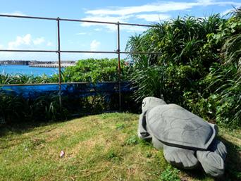 与那国島のナンタ浜の亀「ナンタ浜の集落側に突然設置!?草刈りは定期的にしているみたいw」