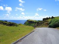 与那国島の東崎の崖下/アリシ観光公衆便所 - 東崎の脇の道を一気に下ります
