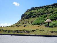 与那国島の東崎の崖下/アリシ観光公衆便所 - 駐車場から東崎の崖を見上げる