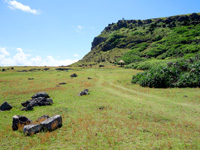 与那国島の東崎の崖下/アリシ観光公衆便所 - 芝生的な広々した空間があるだけ