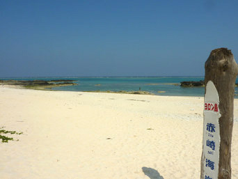 与論島の赤崎海岸「真っ白な砂浜が広がっています」