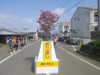 与論島のヨロンマラソン折り返し地点