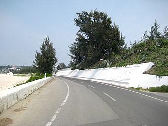 与論島のミコノス通り「まさにヨロンマラソンのゴールへと続く道」