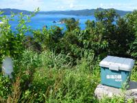 請島のヘリポート展望台 - 奥のヘリポートの先に高台があります