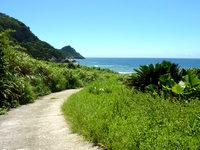 与路島の与路島の山道 - 高原海岸へと向かう道