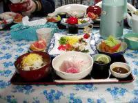 与論島の民宿楽園荘(ペンションパラダイス楽園荘) - 食事は最高。これは幻の鶏飯です。